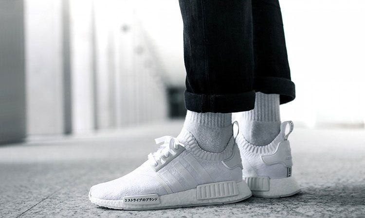 competitive price 04202 245fa Limited Adidas Originals NMD R1 Primeknit Japan Boost running shoes triple  white