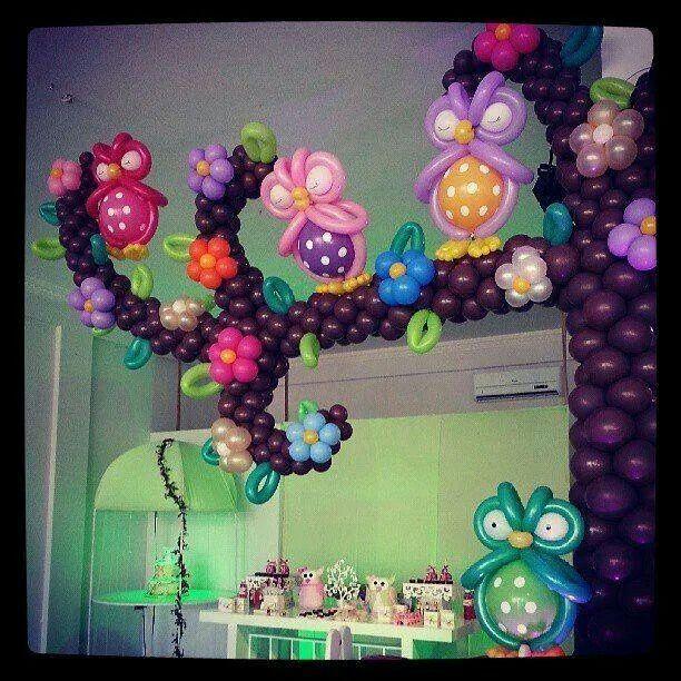Decoração de balão de coruja baloes Pinterest Globo - imagenes de decoracion con globos