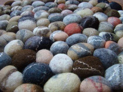 Ковер из шерсти - серый,коричневый,хаки,камни,галька,морские камни,ковер ручной работы