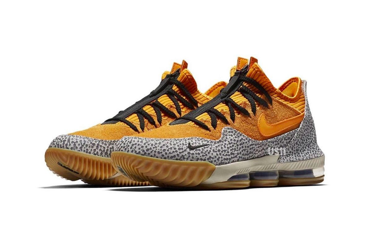low priced c36ff 79492 Nike LeBron 16 Low Safari First Look yellow gum rubber cement print black  James atmos