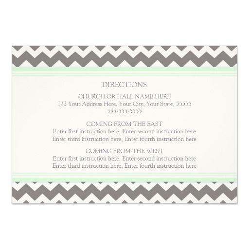 Wedding Direction Cards Mint Grey Chevron Custom Invitation