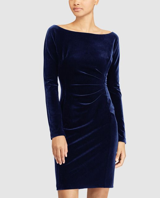 501b3af4c3 Vestido de terciopelo de mujer Lauren Ralph Lauren en color azul marino