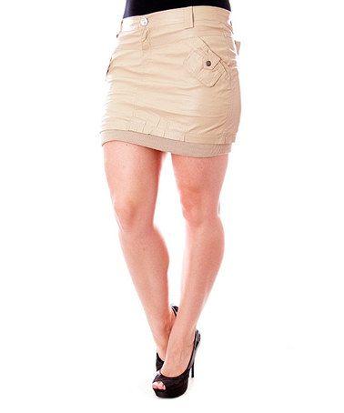 Look at this #zulilyfind! Beige Cargo Miniskirt - Plus #zulilyfinds