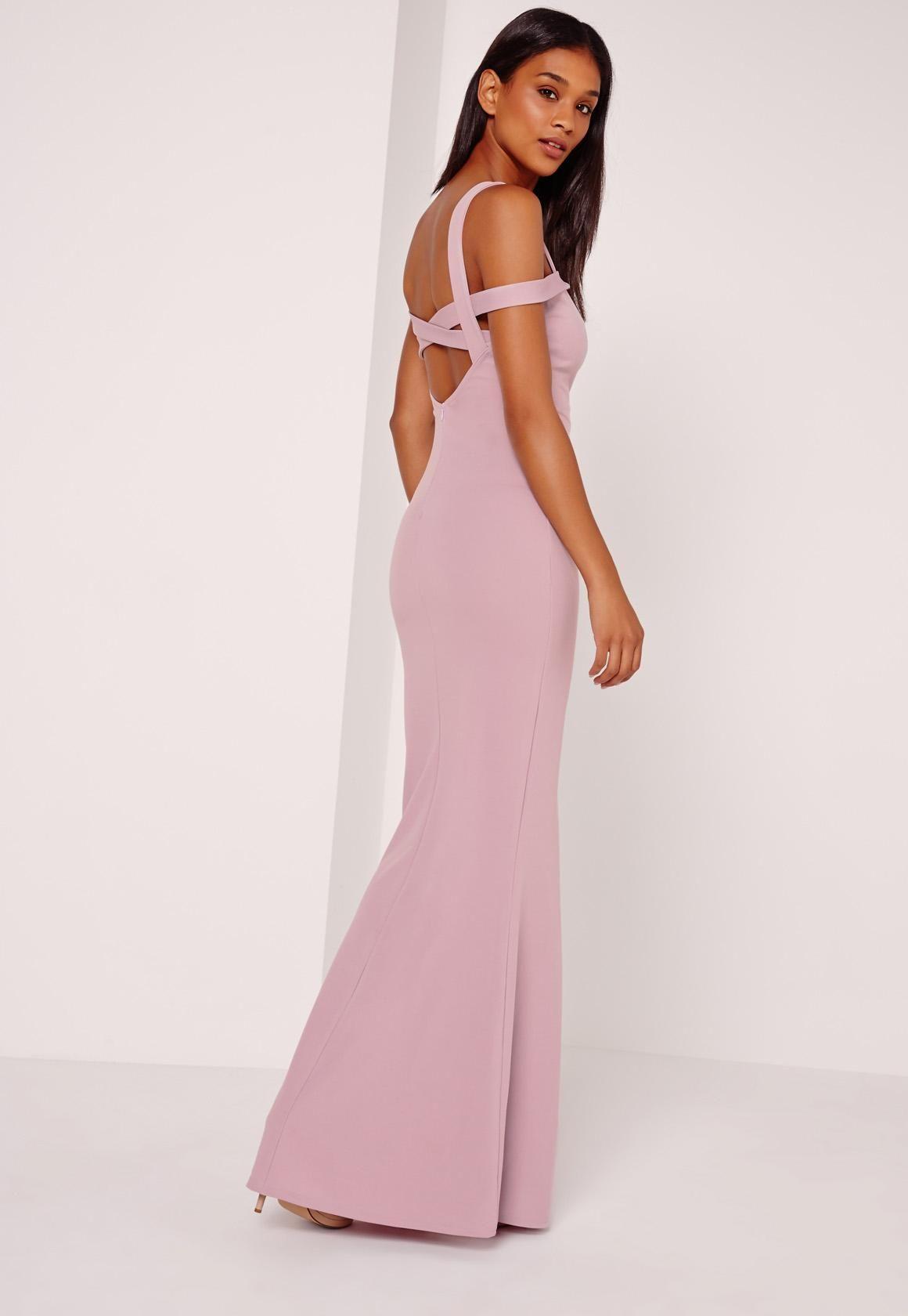 e152e9f5ef8674 Missguided - Strappy Bardot Fishtail Maxi Dress Purple   bridesmaid ...