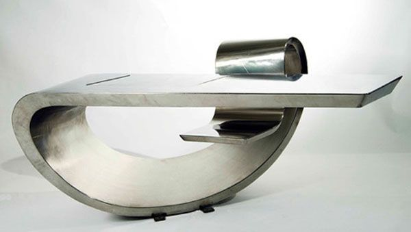 Still Looking Modern, The Max Ingrand Desk Consists Of A Single Continuous  Form Bended Into A Whole Seat Inclusive Workstation. The Stainless Steel  From ...