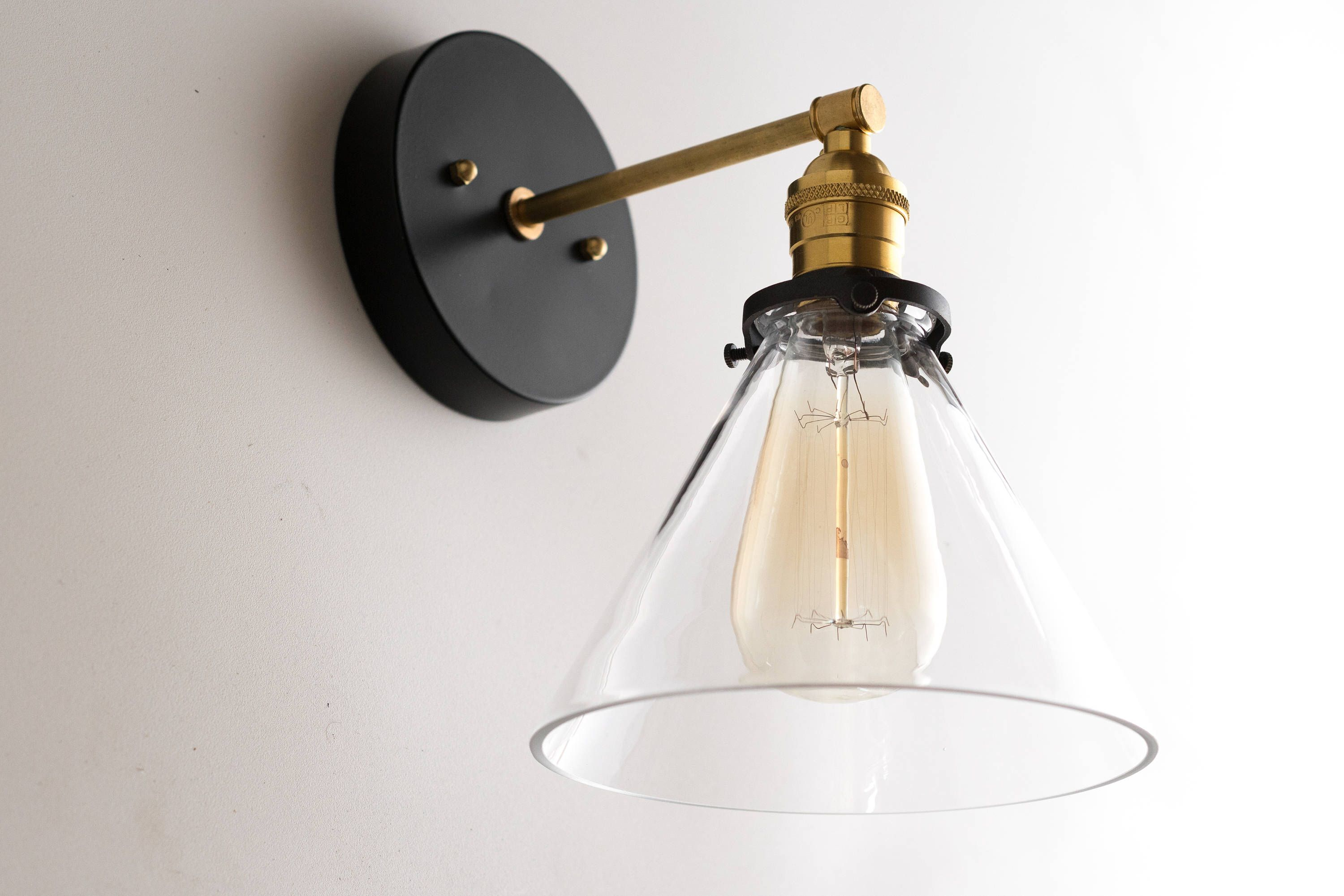 Sconce Modern Wall Sconces Black Gold Wall Light Brass Etsy Brass Wall Light Brass Light Fixture Modern Black Wall Sconces
