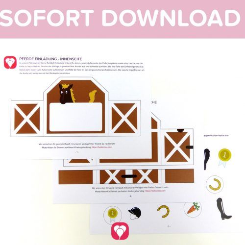 Photo of Ausgefallene Pferde Einladung als Sofort-Download – balloonas.com