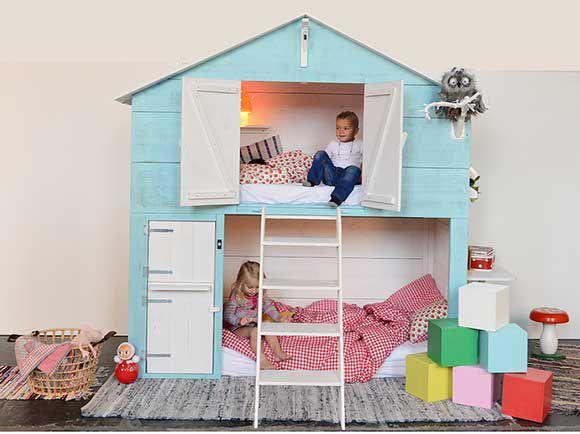 knuzi, kinderkamer, babykamer, bed, bedstee, stapelbed, hoogslaper, Deco ideeën