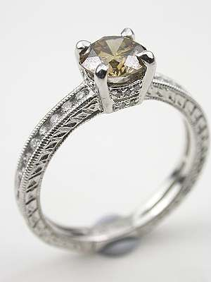 Timeless Champagne Diamond Engagement Ring Rg 1753h Vintage Style