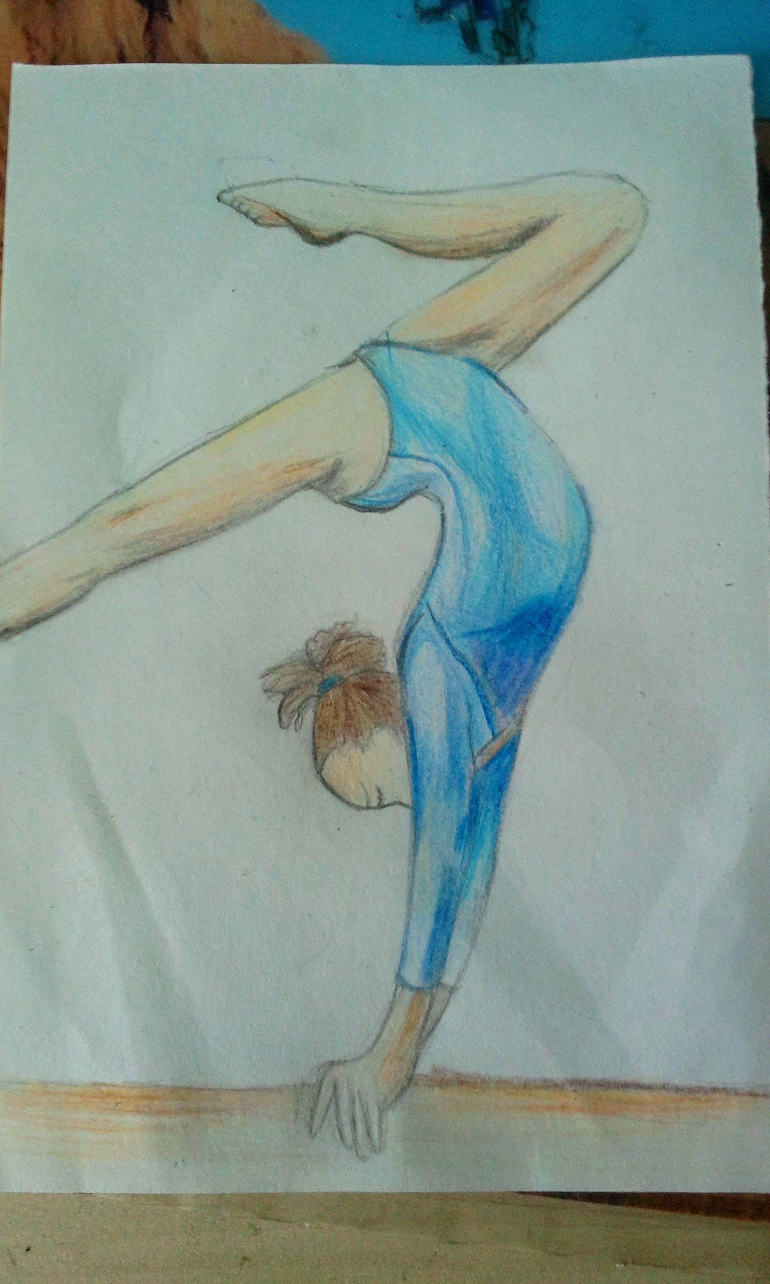 Dessin d 39 une gymnaste poutre gym pinterest dessin poutre et page - Dessin gymnaste ...