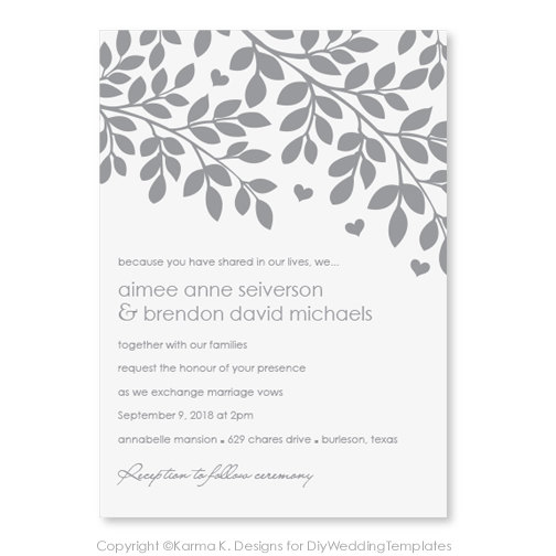 Printable Wedding Invitation Template DOWNLOAD Instantly – Microsoft Word Invitation Template