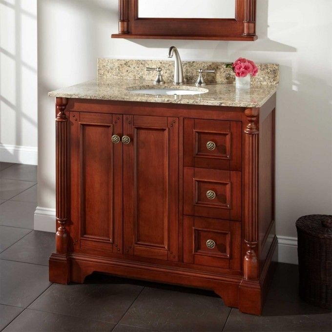 "36"" Tullford Vanity For Undermount Sink  Cherry  Bathroom Brilliant Cherry Bathroom Vanity Design Inspiration"