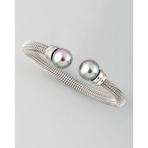 Majorica White Pearl-Cap Bangle, Silver