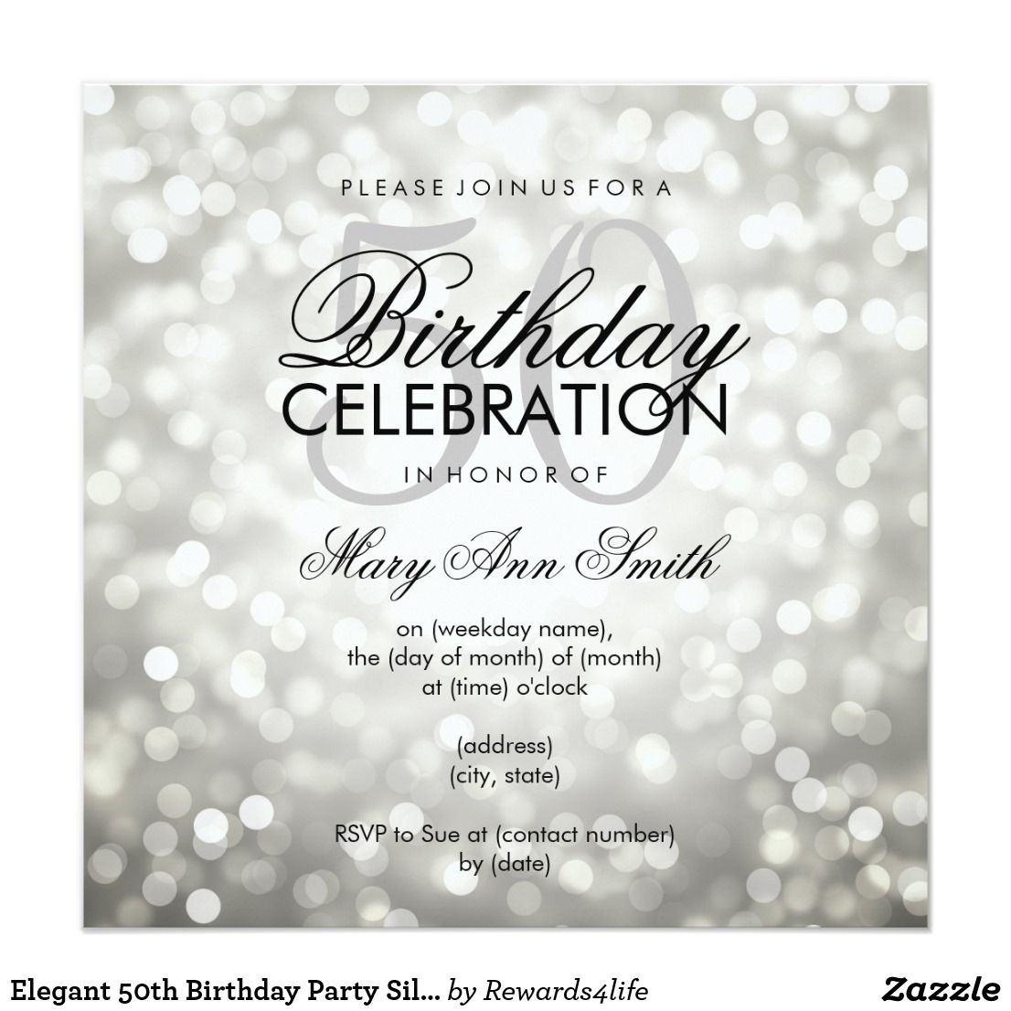 Elegant 50th Birthday Party Silver Glitter Lights Invitation ...