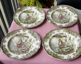 Lot Of Four Vintage Small Plates Johnson Brothers Friendly Village & Lot Of Four Vintage Small Plates Johnson Brothers Friendly Village ...
