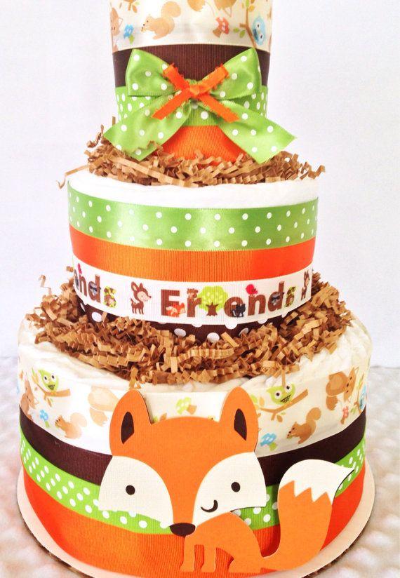forest friends woodland diaper cake fox theme baby shower centerpiece