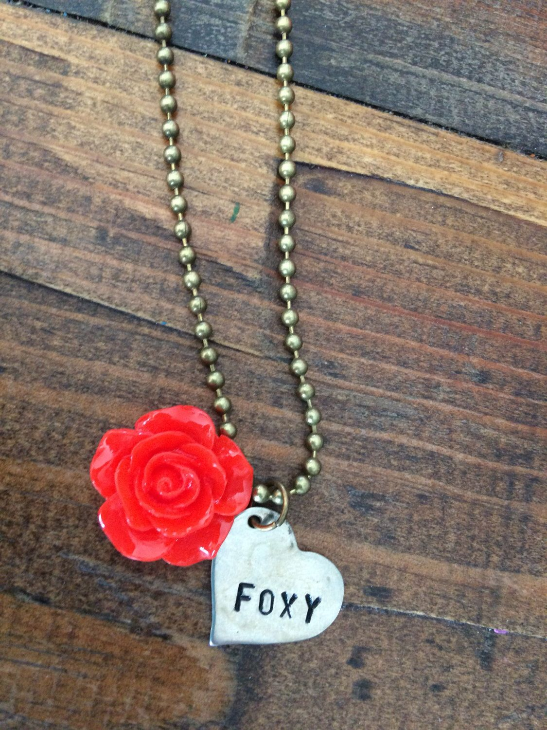 FOXY heart necklace on a ballchain- YOU pick chain length! by TwoHobbyGirls on Etsy https://www.etsy.com/listing/497910712/foxy-heart-necklace-on-a-ballchain-you