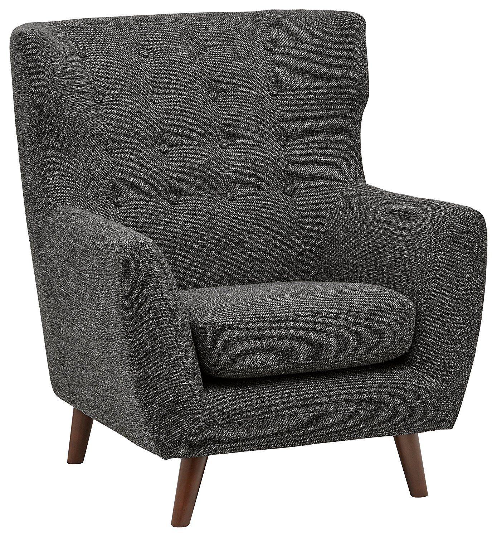 Amazon.com: Rivet Hawthorne Mid Century Tufted Modern Accent Chair, Silver: