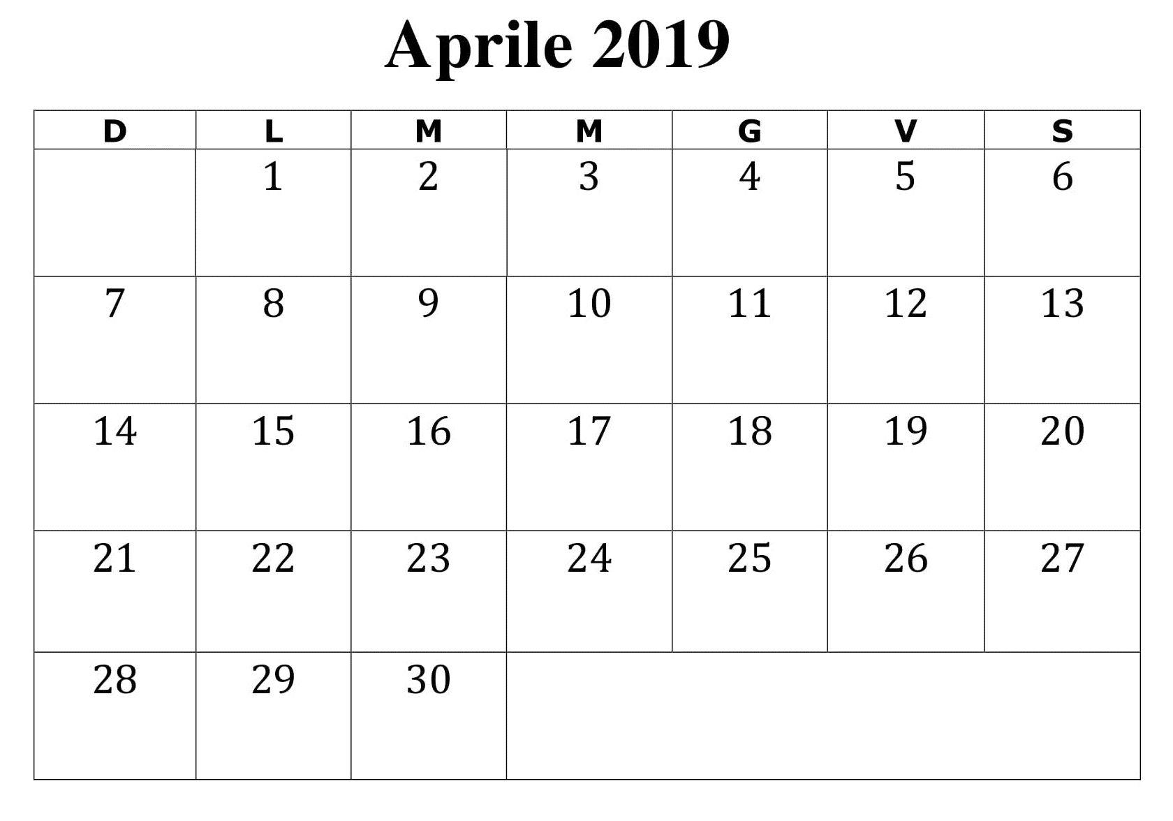 Calendario Con Excel.2019 Calendario Aprile Da Stampare Excel Calendario Aprile