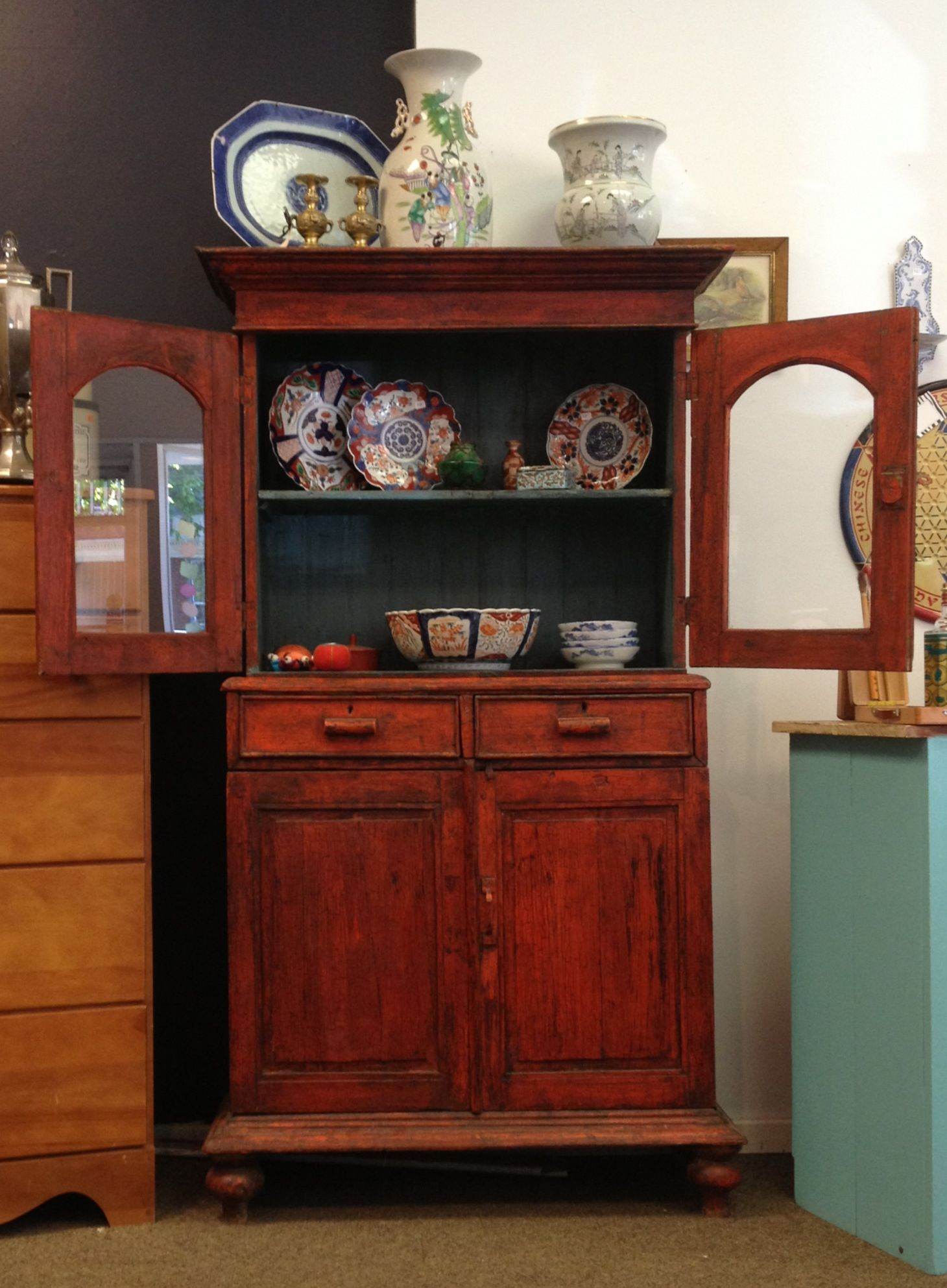 "Exotic red cabinet. Small scale - 20"" wide, 20 20/20"" deep and 20 ..."