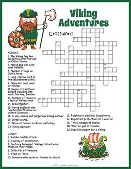 Use This Crossword Puzzle To Introduce Or Reinforce A Unit On The Viking It Covers 24 Vocabulary Words And Includes Vikings For Kids Vikings History For Kids