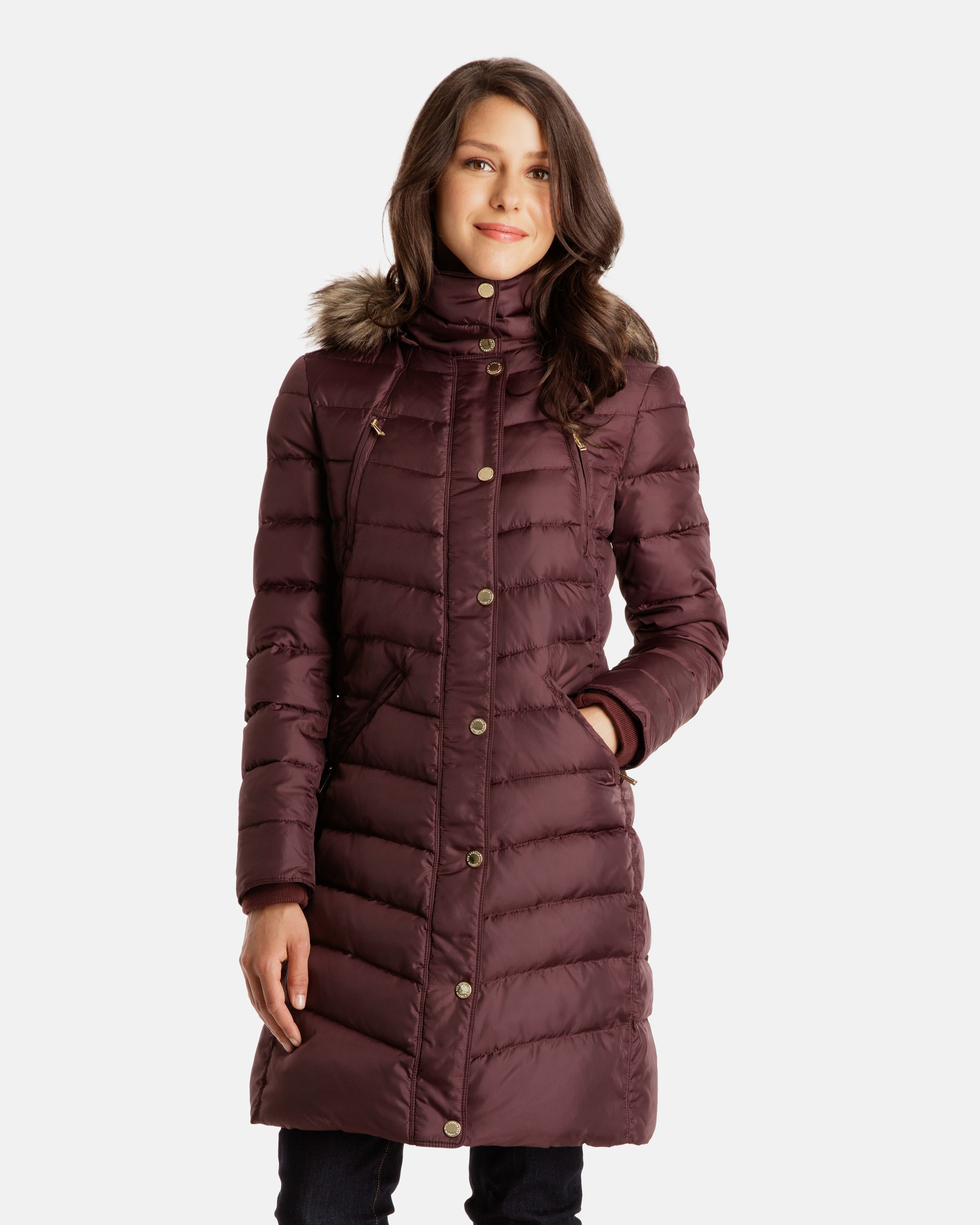 $109.99 Naomi Long Down Coat with Faux Fur Trimmed Detachable Hood ...