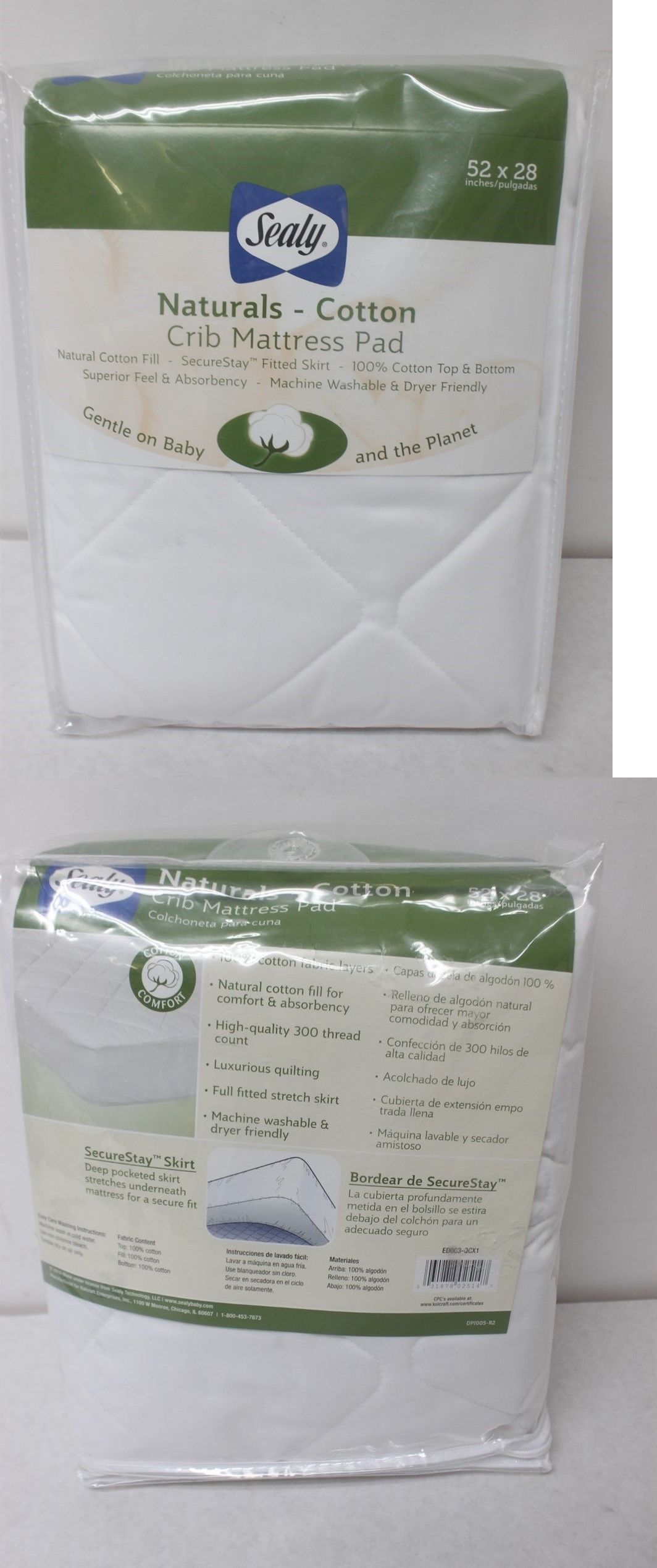 mattress pads and covers 162041 sealy naturals cotton crib mattress
