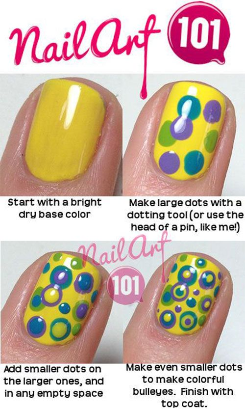 20 Simple Step By Step Polka Dots Nail Art Tutorials For Beginners