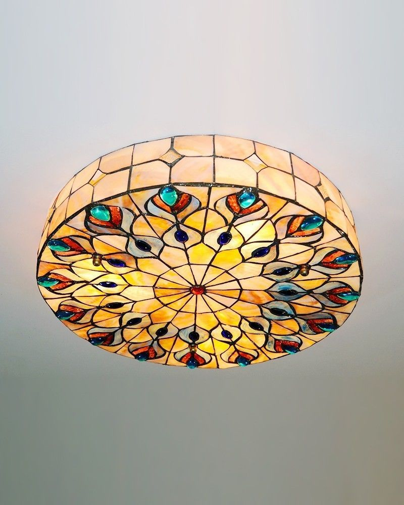 Peacock led tiffany style light fixture mount ceiling light lamp bath kitchen