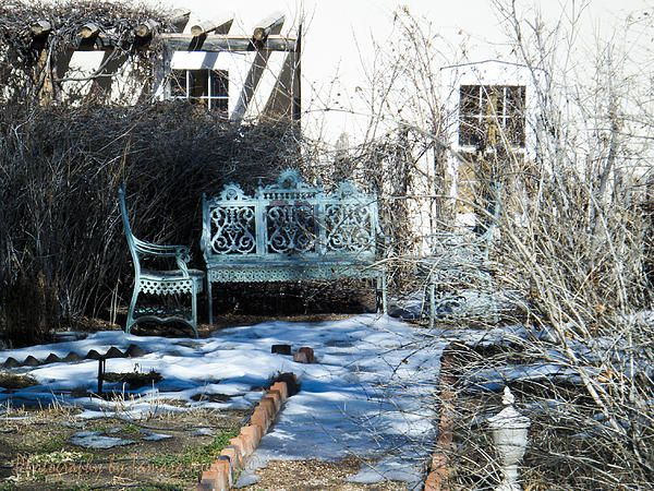 Santa Fe Backyard Benches, waiting for the snow to melt, so people will once again come outside to enjoy their coffee!