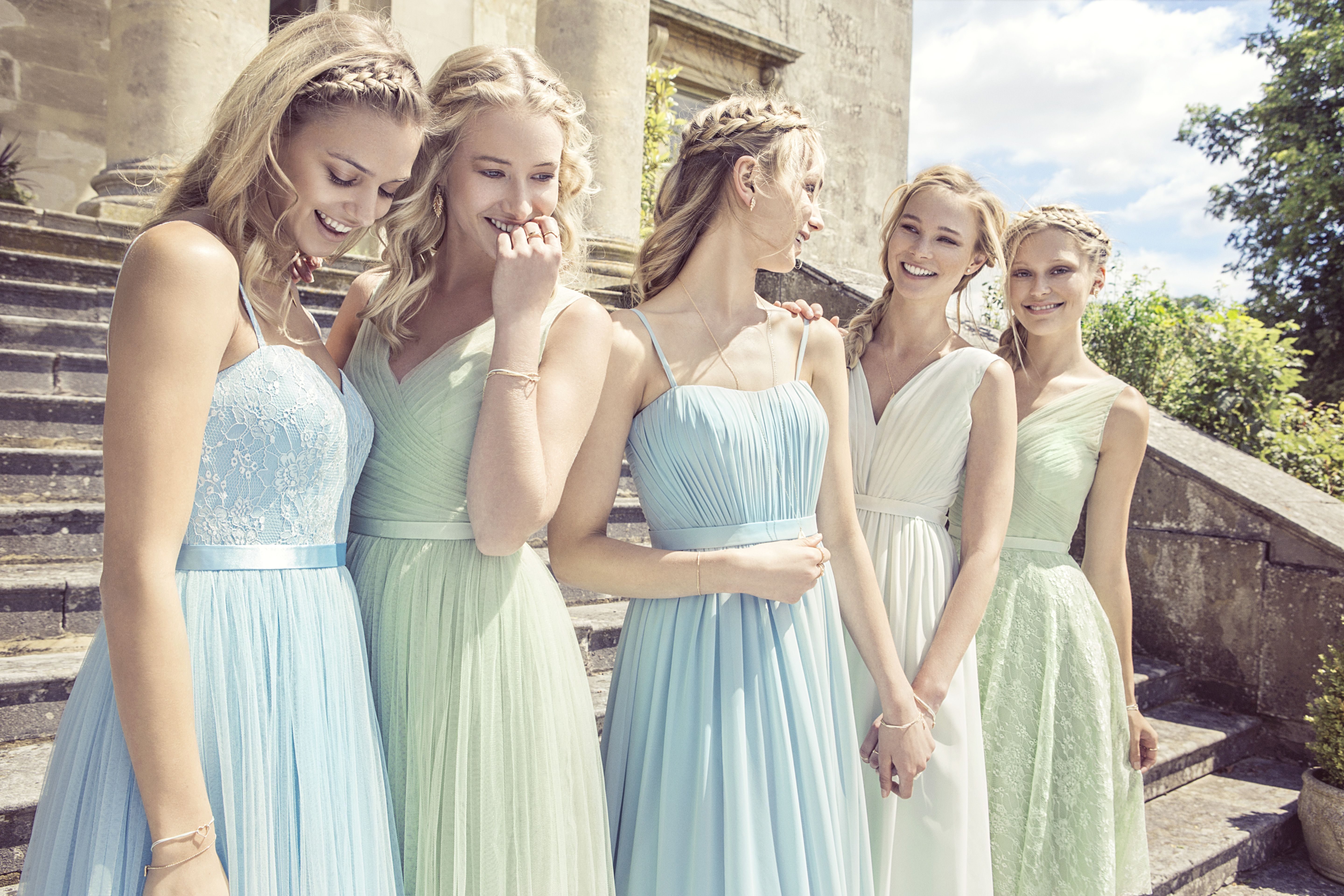 Kelsey rose 2015 kelseyrose styles left to right aqua shade dresses from kelsey rose 2015 ombrellifo Images