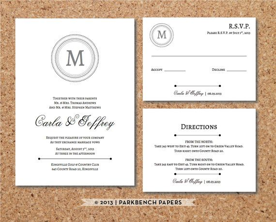 Editable wedding invitation rsvp card and insert card classic editable wedding invitation rsvp card and insert card classic monogram style word filmwisefo Choice Image