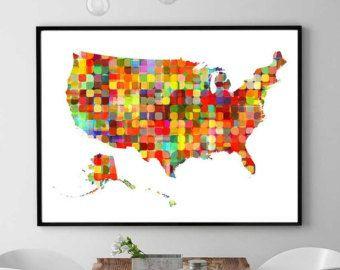 us map contiguous united states map cut paper us map collage us map mixed media us map print