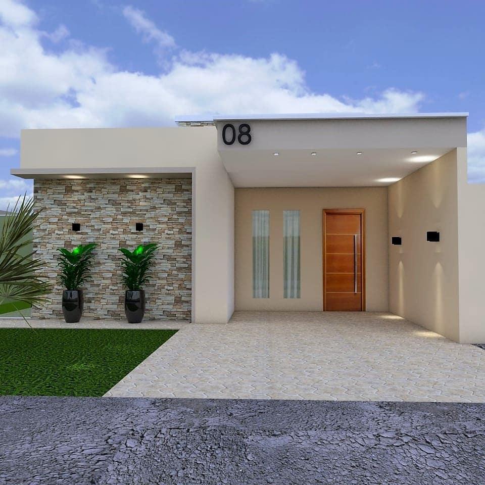 Fachada De Casa Terrea 70 Otimas Ideias Dicas Decor Home Building Design House Exterior Modern Small House Design