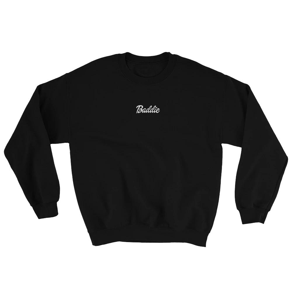 Crew Neck Sweater Black Baddie Label Baddie Baddiesonly Womensfashion Fashion Blacktshirt Blacksh Sweatshirts Galaxy Sweatshirt Club Sweatshirts [ 1000 x 1000 Pixel ]