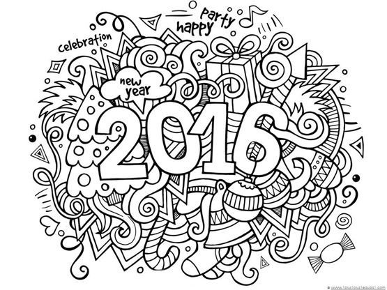 new years 2016 doodle coloring page
