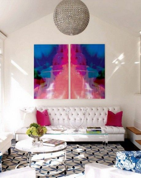 Love the grey of the light with the white couch with the 3 colors of ...