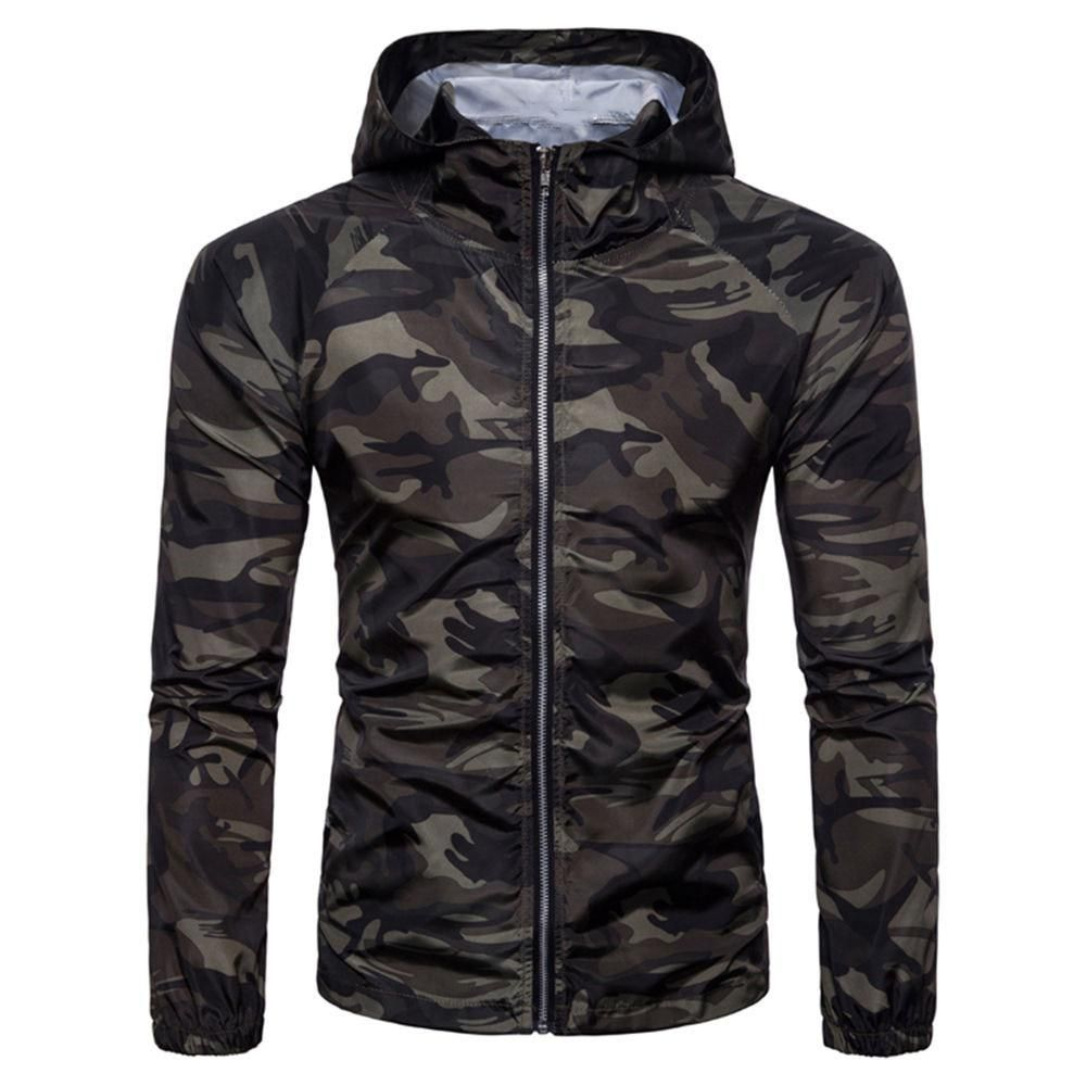 Mens Camouflage Tracksuit Hooded Zip Up Jacket Hoodie Camo Coat Casual Outwear