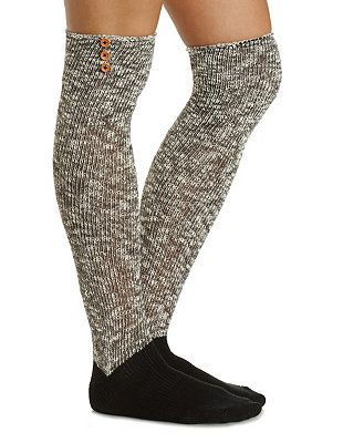 Button-Topped Over-the-Knee Socks: Charlotte Russe