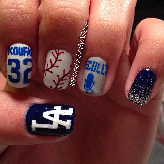 Handjobsbyallison Los Angeles Dodgers Nail Nails Nailart Hair