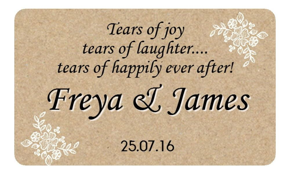 21 tears of joy personalised glossy wedding favour stickers for tissue packs