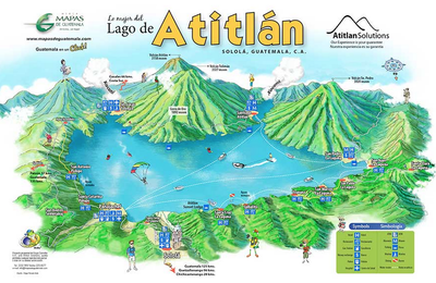 Lake Atitlan Guatemala Map Maritime Map of Lake Atitlan — Real Estate Atitlan | places to go