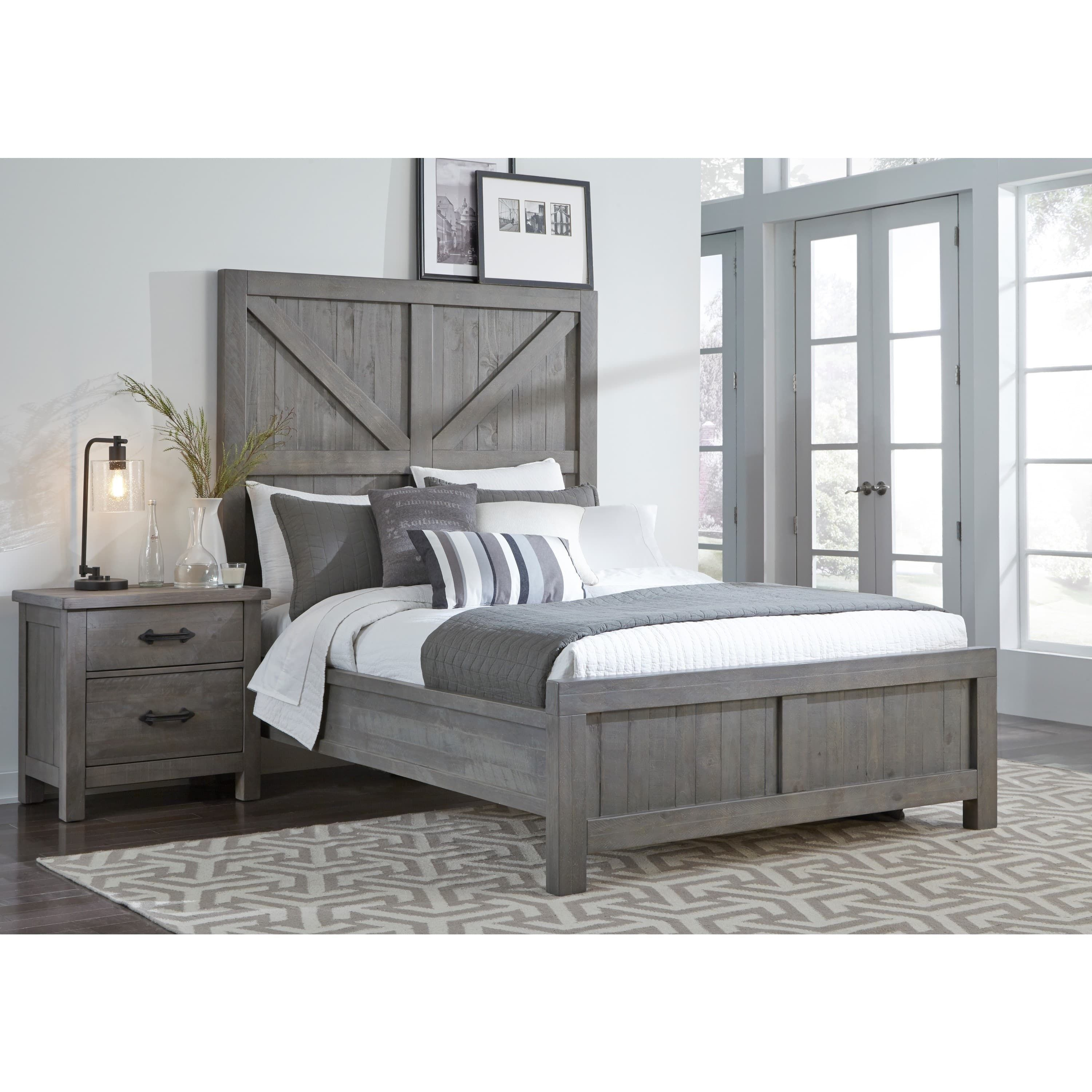 Modus Austin Barn Door Panel Bed In Rustic Gray California King Grey With Images Panel Bed Modus Furniture Bedroom Set