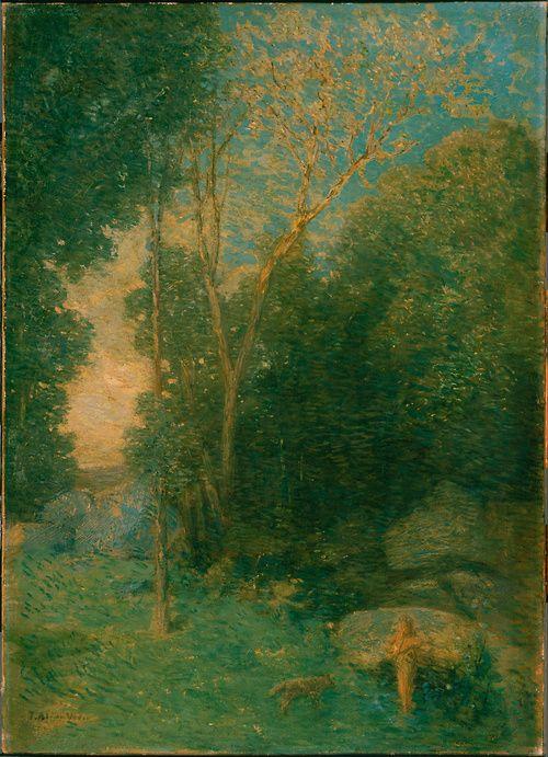 wetreesinart:  Julian Alden Weir (Am. 1852-1919), Pan and the Wolf, 1907
