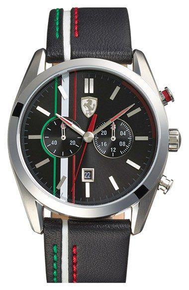 Scuderia Ferrari D50 Chronograph Leather Strap Watch 44mm Nordstrom Ferrari Watch Cool Watches Watches For Men