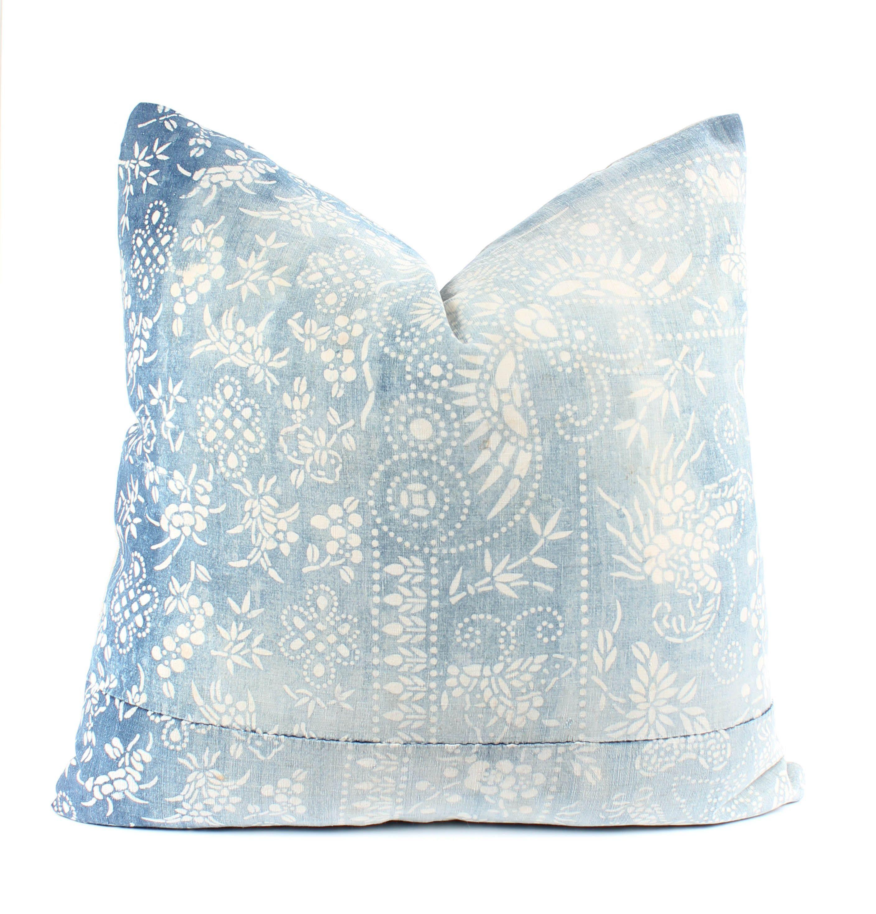 Chinese indigo batik pillow cover boho pillow faded vintage
