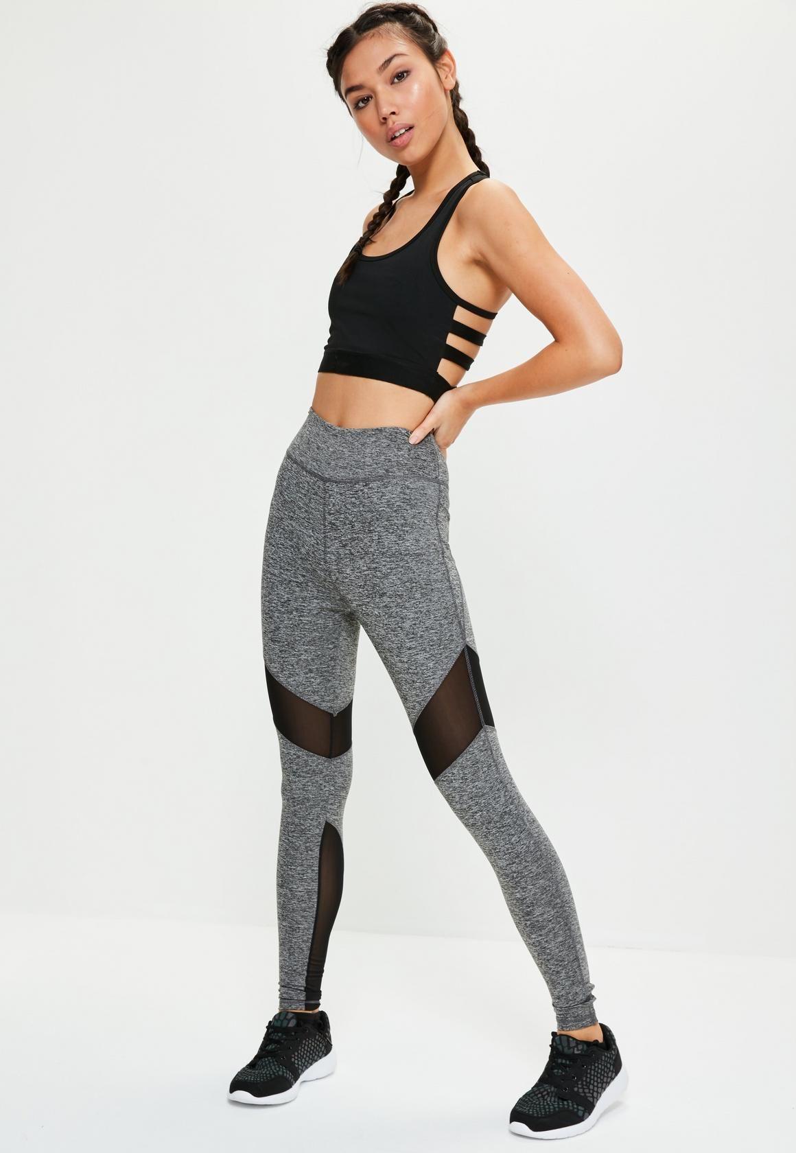 290edad4b26c8 Missguided - Active Grey Mesh Insert Full Length Sports Leggings ...