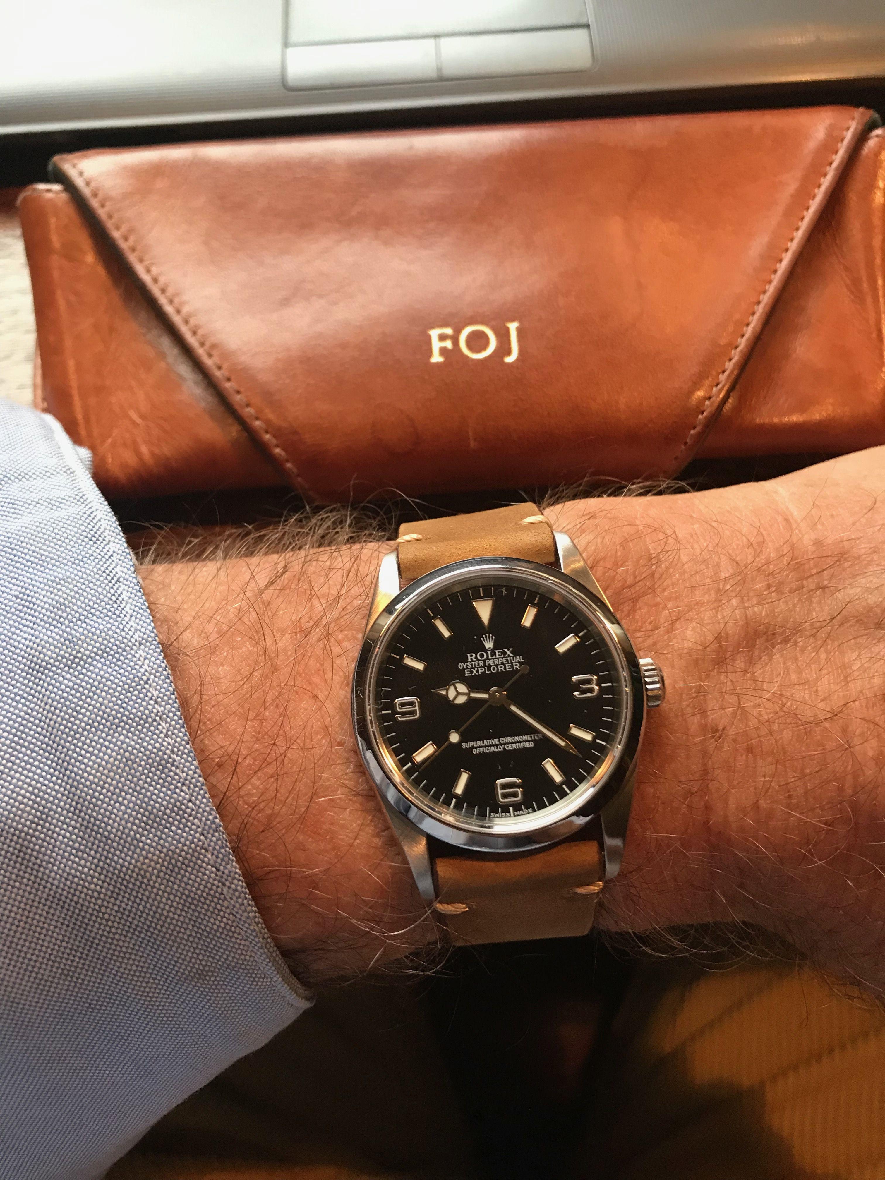 Rolex Explorer 114270 36mm. Suede strap.
