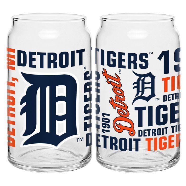 MLB Detroit Tigers 16 oz Glass Can
