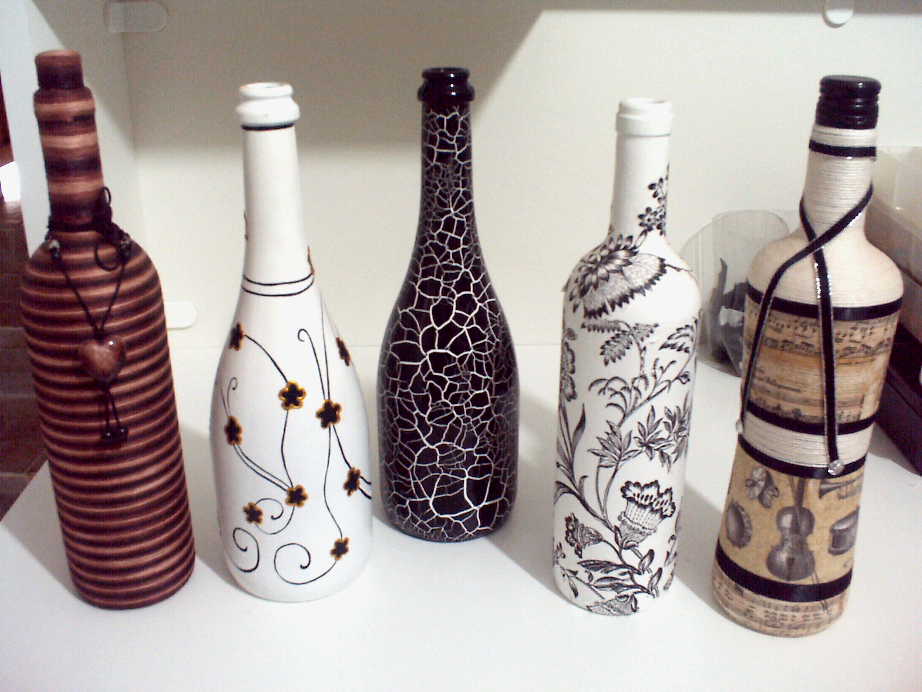 garrafas decoradas Ateli mos Em ao